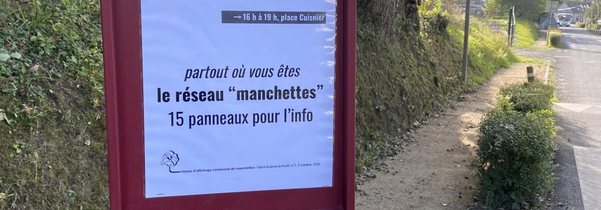 """Photo d'une """"manchette"""" apposée route de Chasné, à Saint-Sulpice-la-Forêt."""
