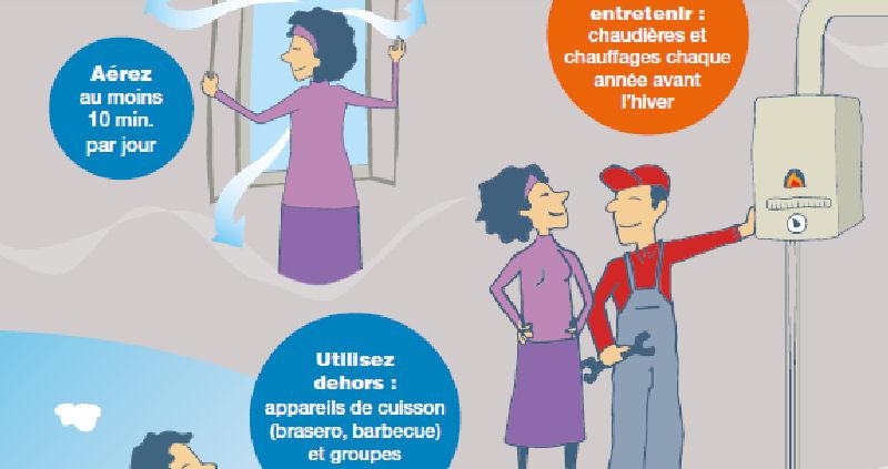 Affiche de Santé publique France relative à la prévention contre les intoxications au monoxyde de carbone.