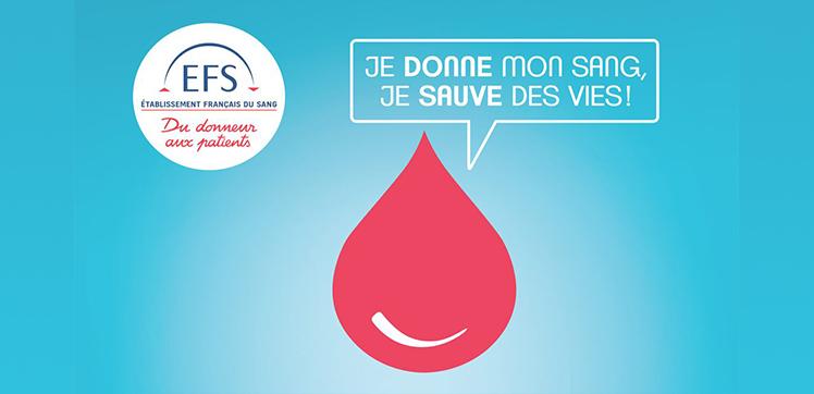 """Logo Don de sang : """"Je donne mon sang, je sauve des vies !""""."""